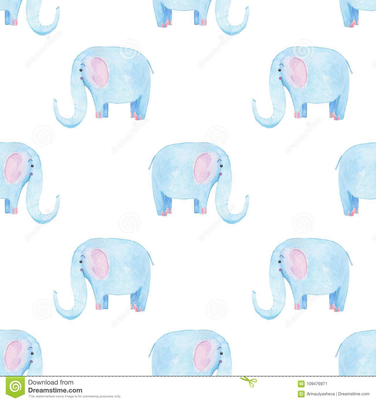 Baby Girl Nursery Wallpaper Borders Cute Elephant Pattern Seamless Watercolor Background With