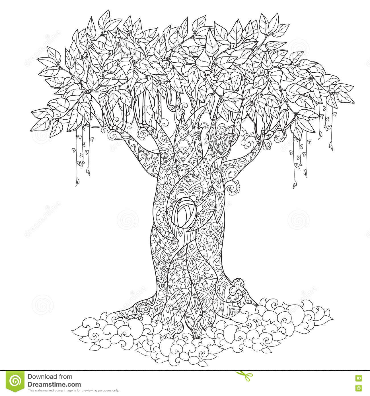 Cute Fairy Tale Tree From Magic Forest Stock Vector