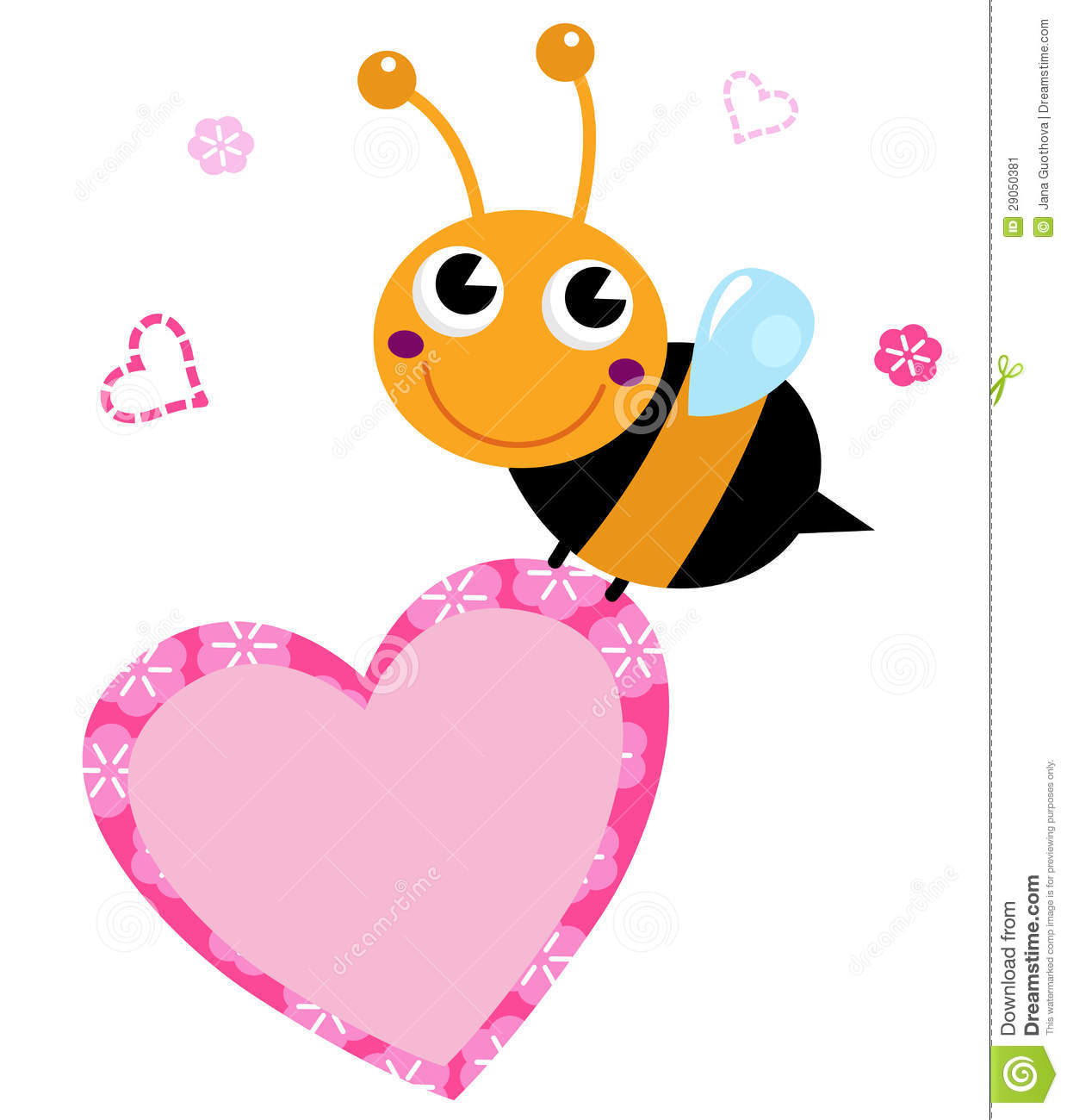 Cute Flying Bee Holding Pink Heart Stock Image