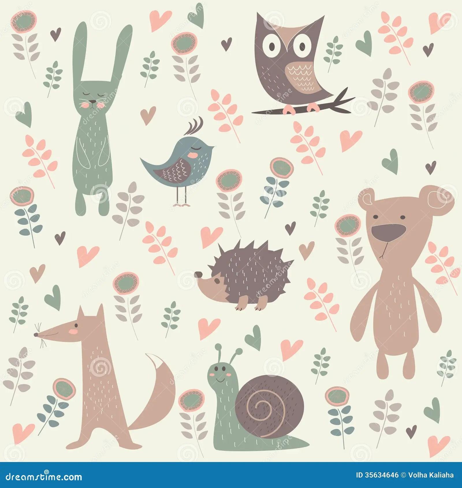 Cute Owl Wallpaper Border Cute Forest Animals Stock Vector Illustration Of Childish