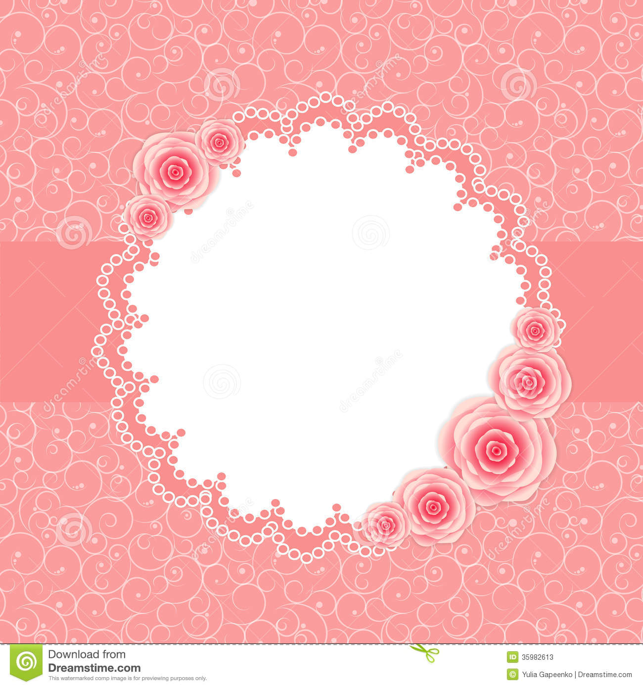 Pink Ribbon Iphone Wallpaper Cute Frame With Rose Flowers Vector Illustration Stock