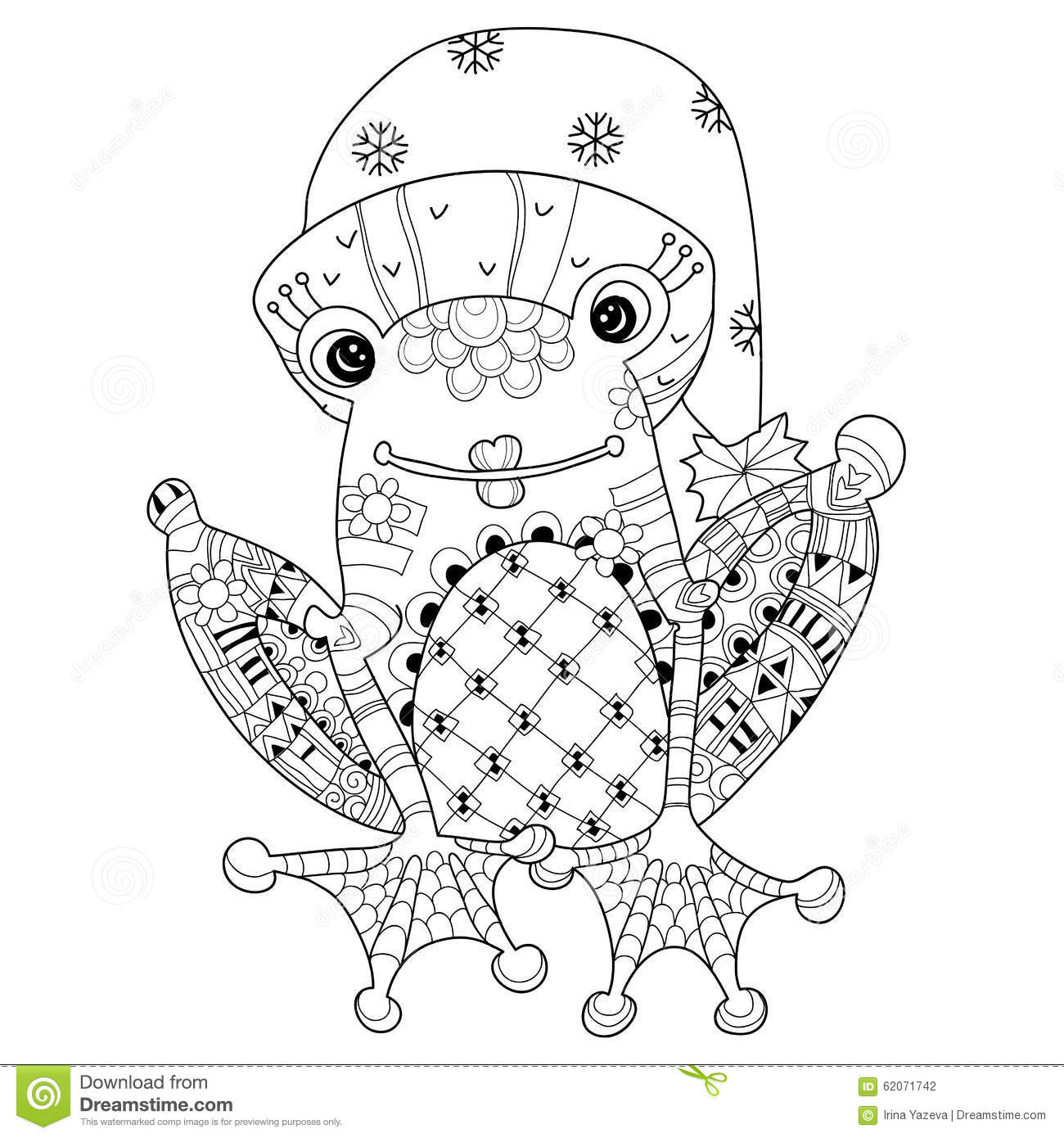 Cute Frog Prince In Christmas Hat Ctor Sketch Stock Vector