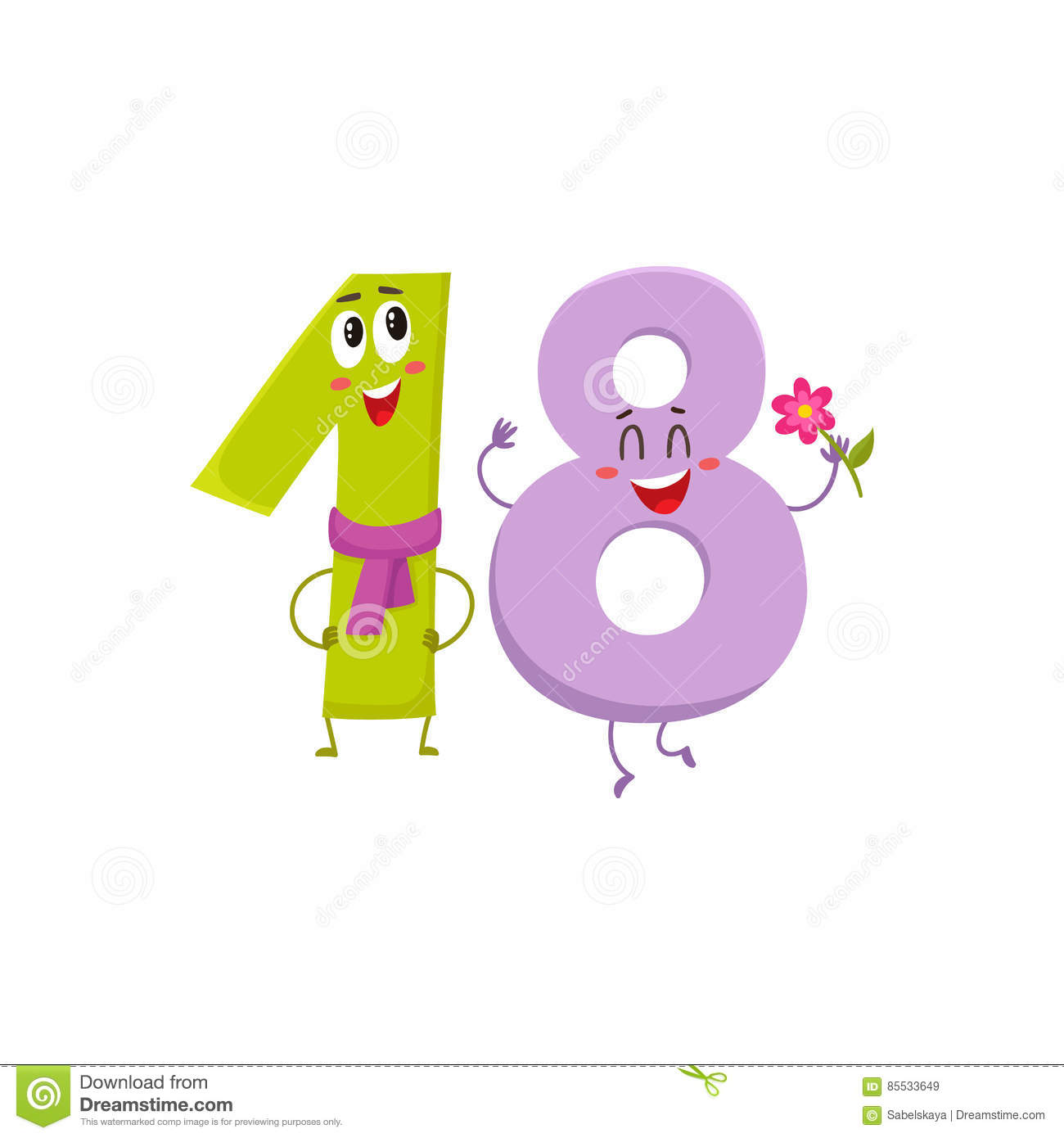 Cute And Funny Colorful 18 Number Characters Birthday