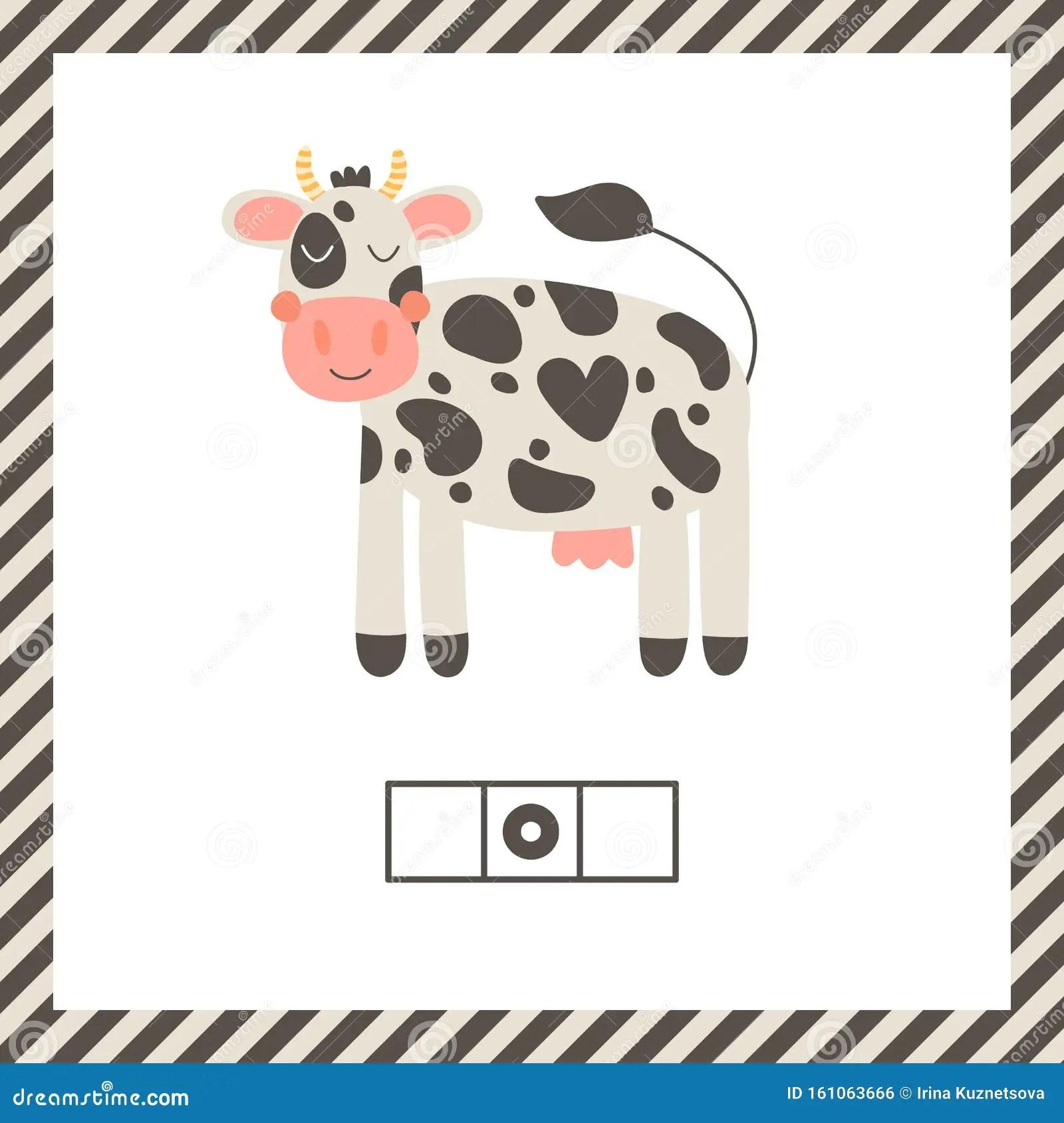 Cute Funny Farm Animal For Kids Nursery Print Cartoon Cow