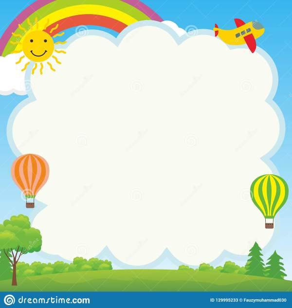 Cute And Funny Frame With Landscape Cartoon Stock Vector