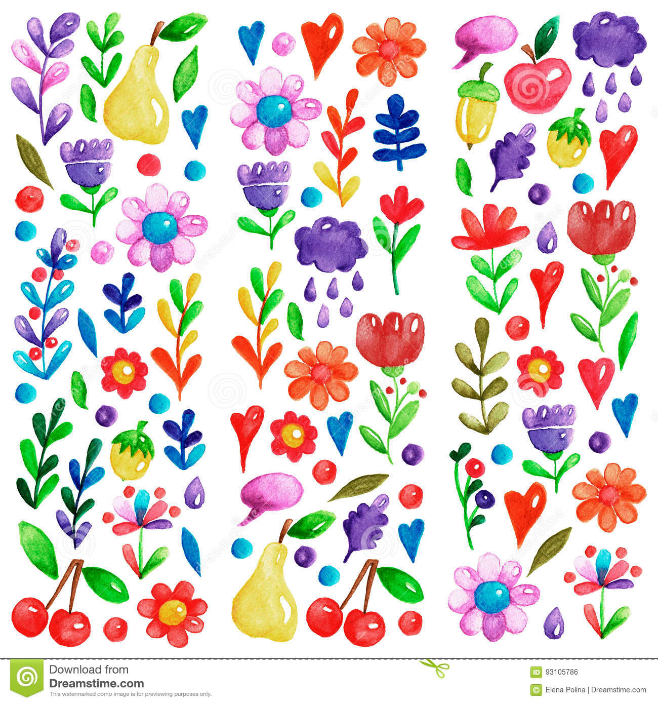 Cute Garden Flower And Plants With Fruits And Berries For