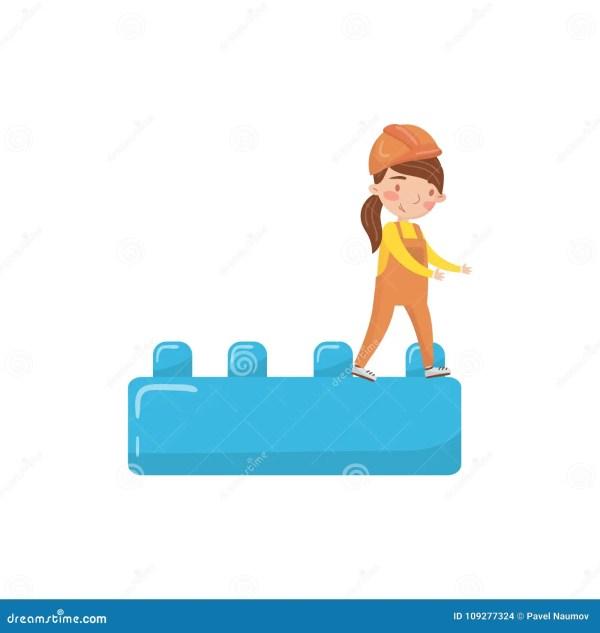 Cute Girl Builder And Buiding Toy Block Preschool