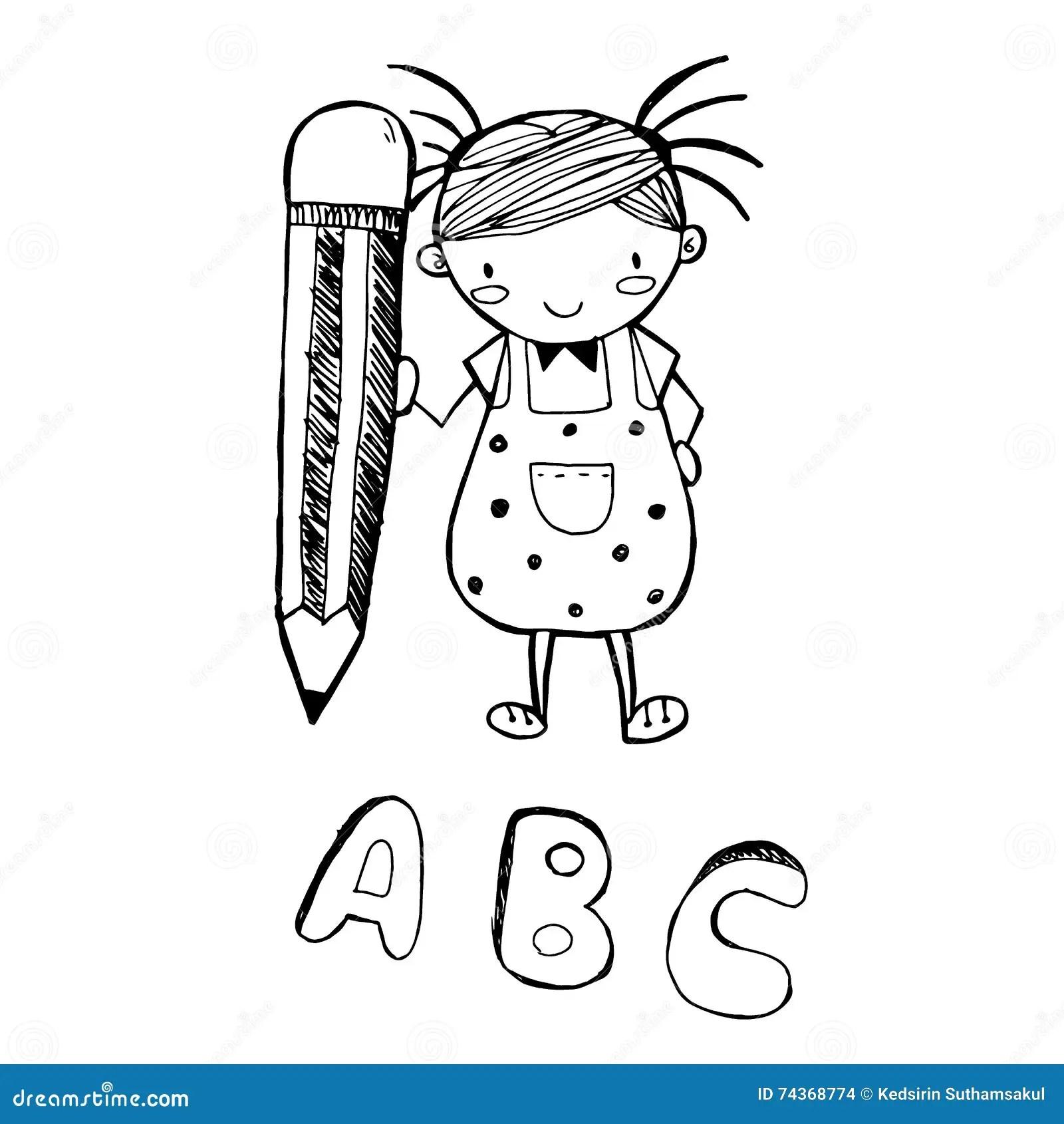 Woman Face Cartoon Sketch In Black Line Doodle Vector