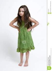 Cute Girl In Green Dress Stock Of