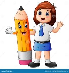 uniform cartoon pencil cute illustration education preview
