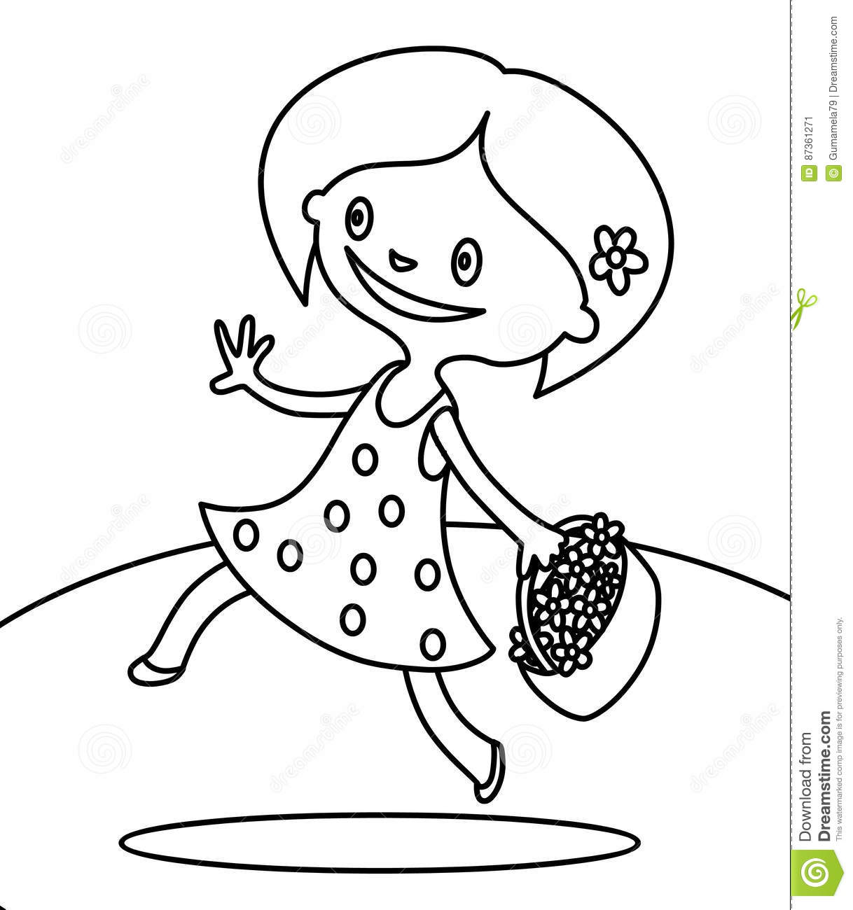 Cute Girl Walking With Bouquet Of Flowers Coloring Page