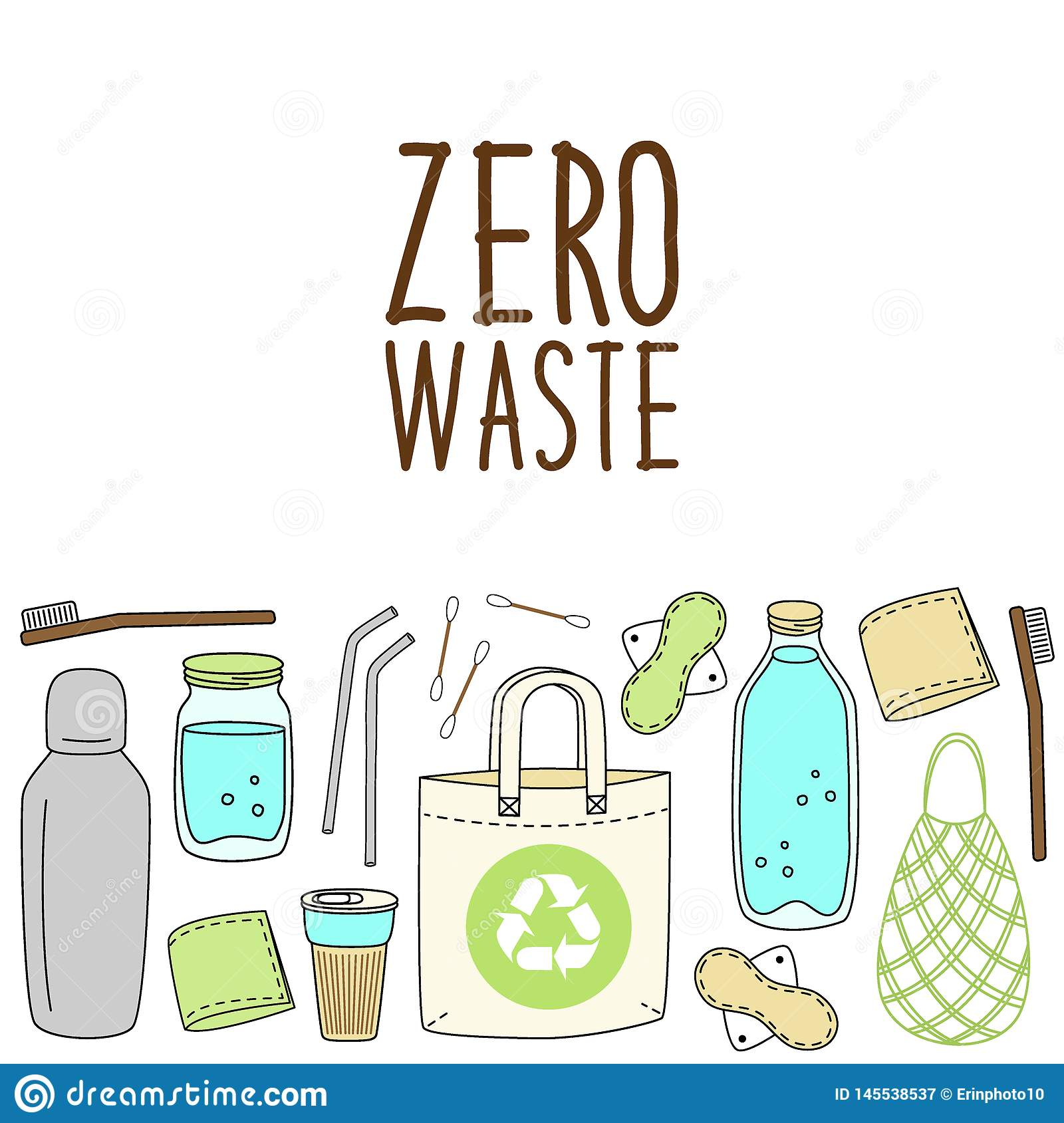 Cute Hand Drawn Elements Of No Plastic Zero Waste Concept