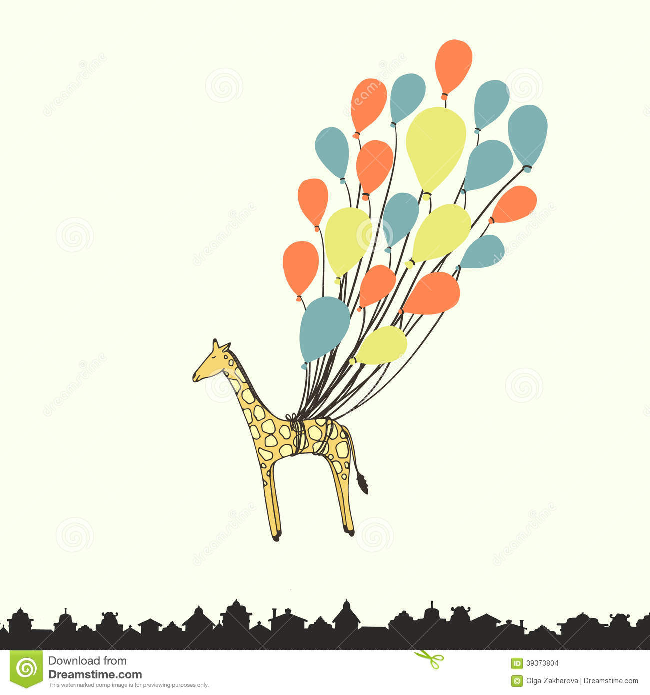 Cute Hand Drawn Giraffe Flying On The Balloons Perfect