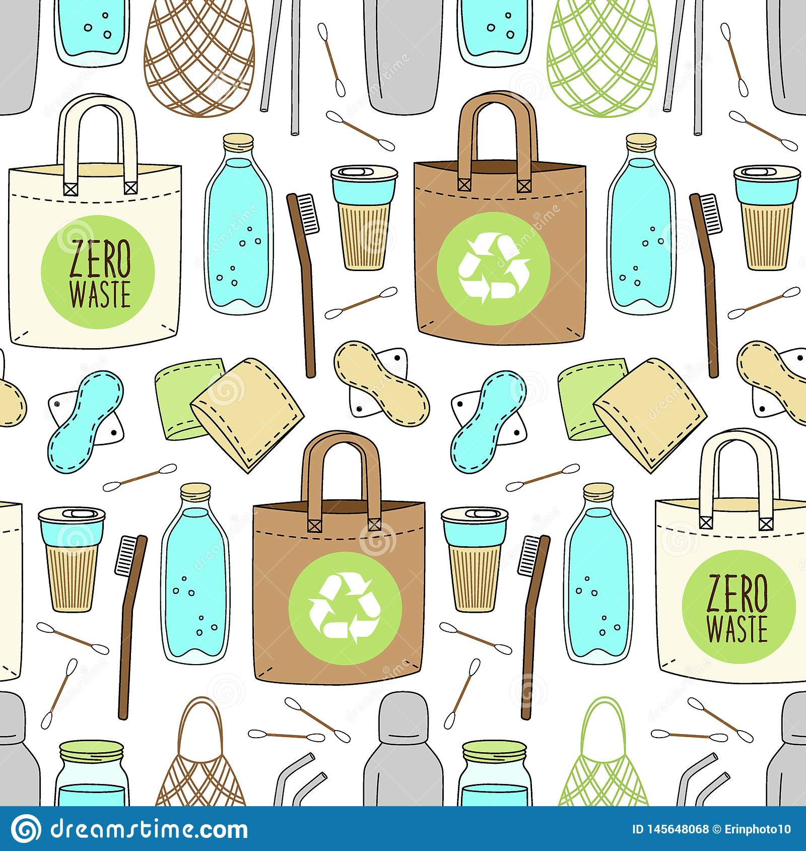 Cute Hand Drawn Seamless Pattern Of No Plastic Zero Waste