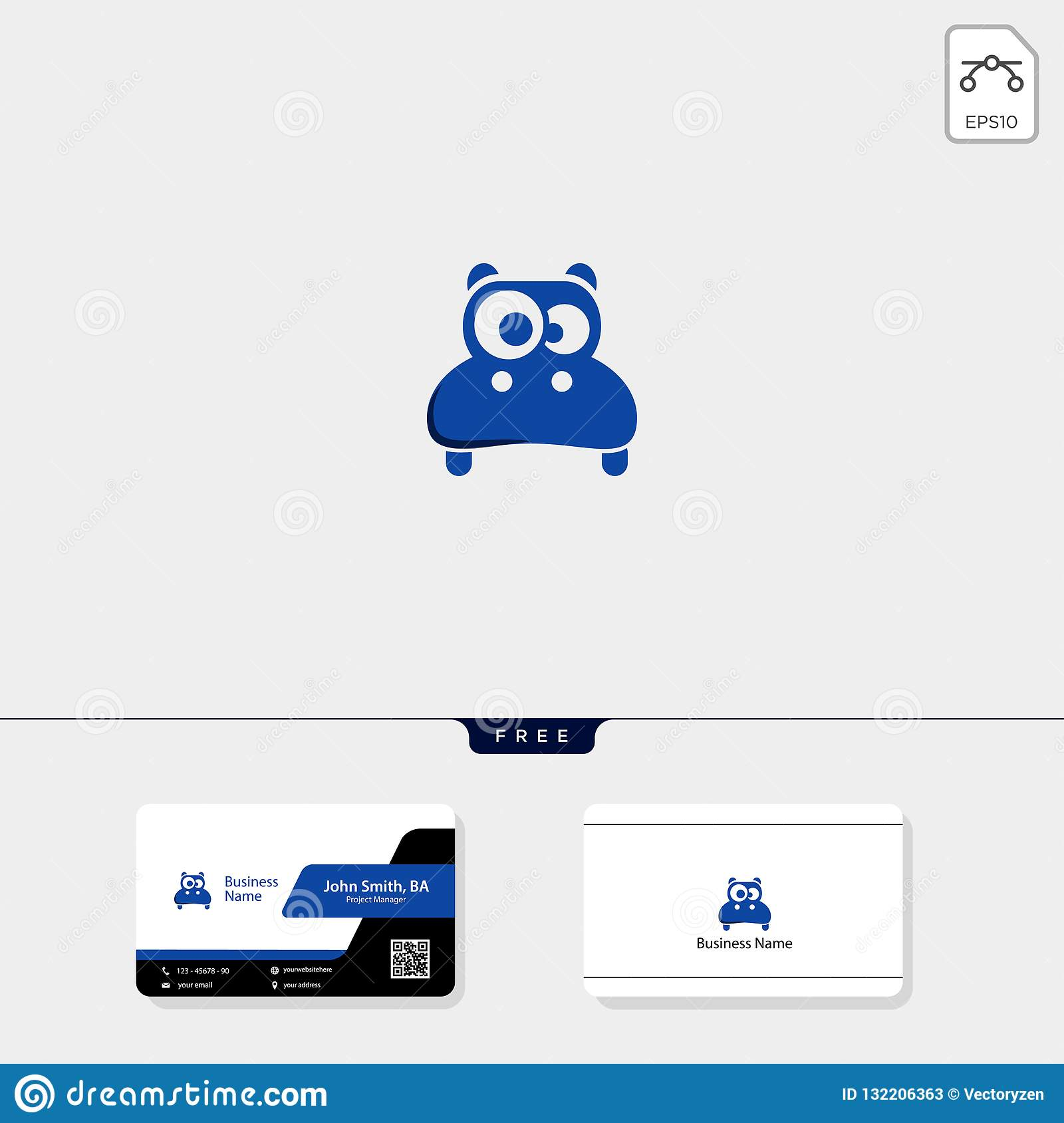 hight resolution of cute head hippo logo template vector illustration and inspiration free business card design