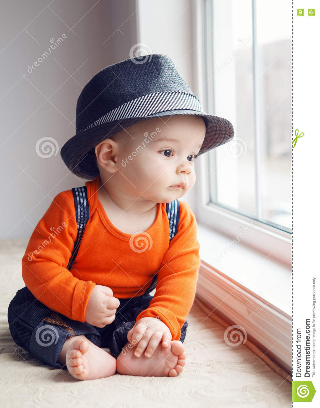 ca1f330a Infant Baby Hats | Funny Infant Baby Boy Stock Image Image Of ...