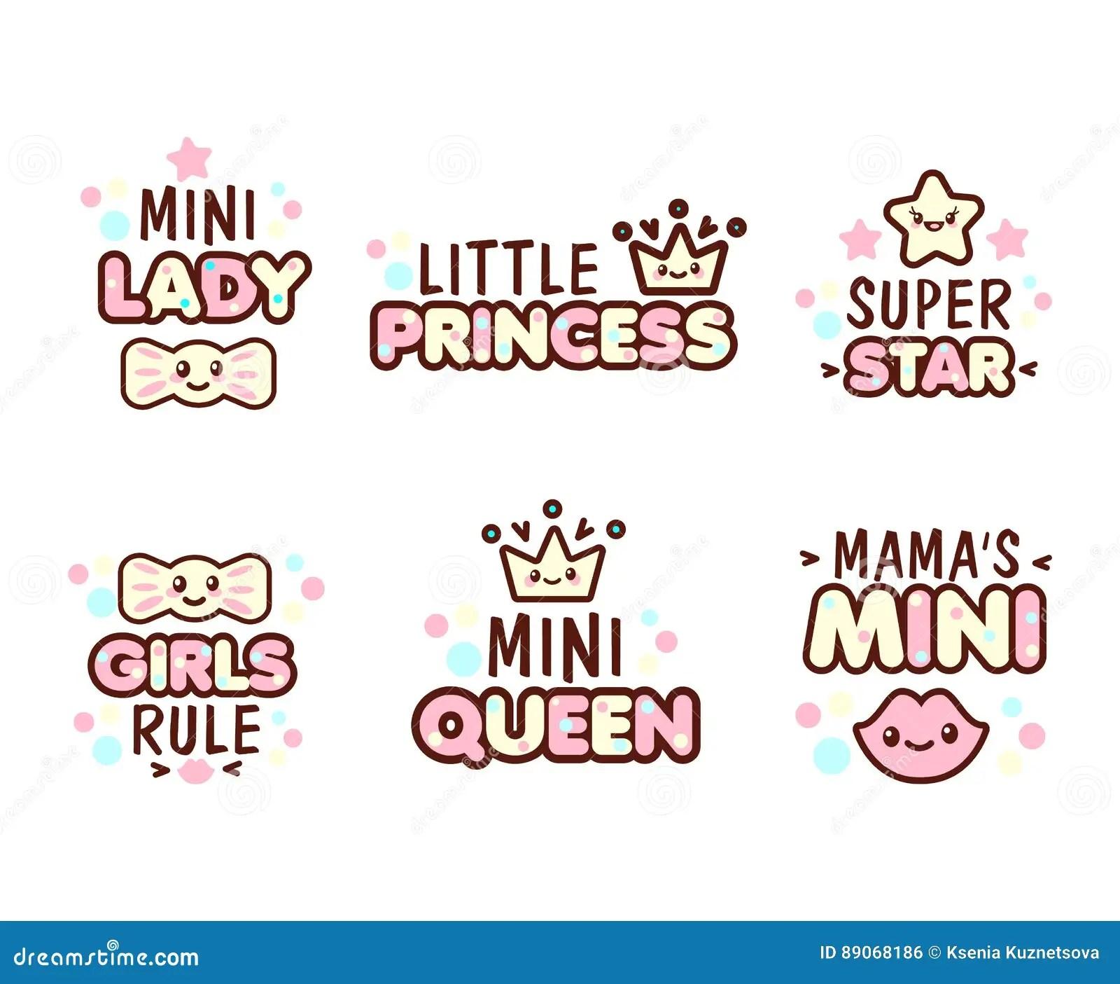 Star Wallpaper Cute Kawaii Cute Kawaii Emoticons With Baby Girl Objects Stock Vector