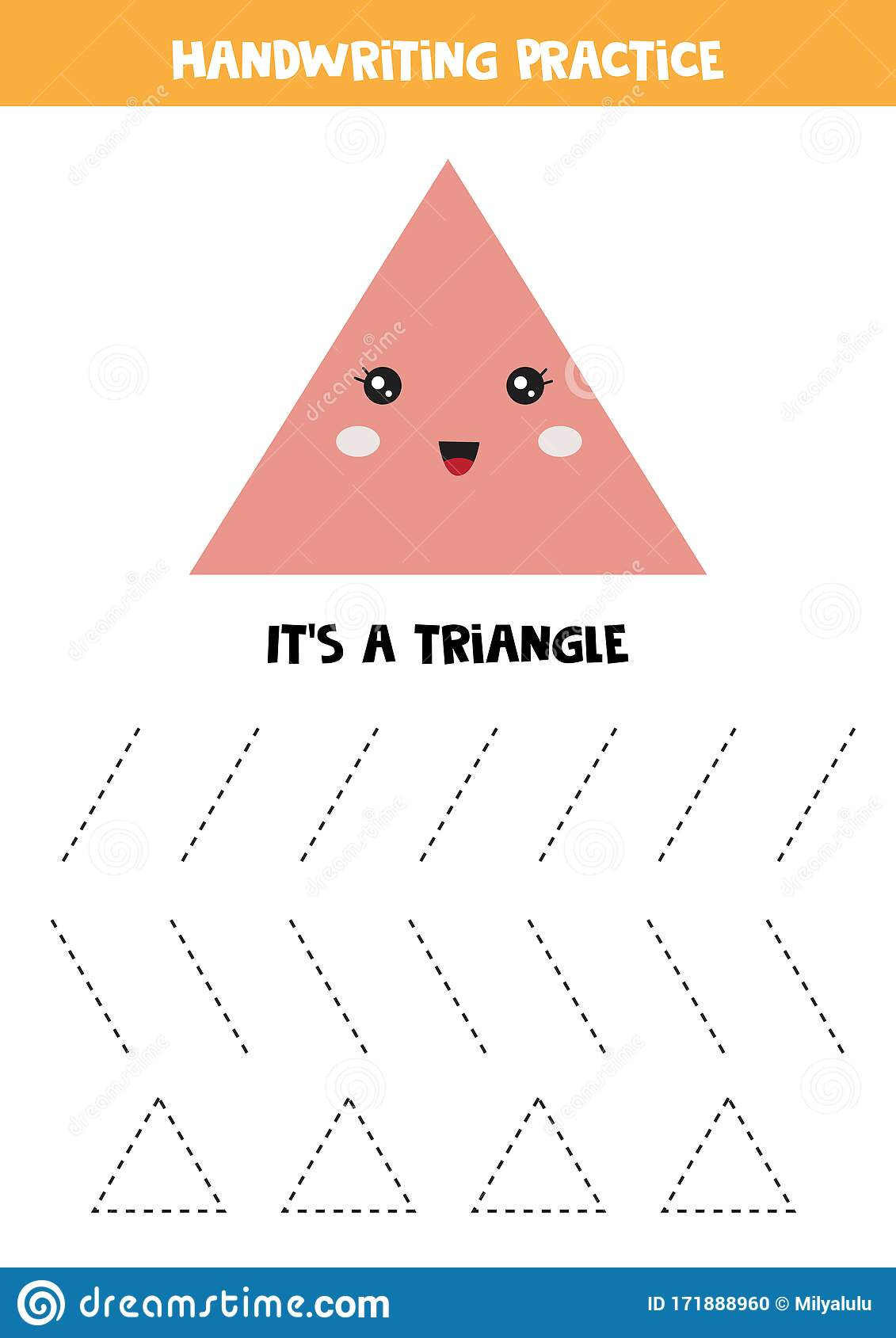 Cute Kawaii Triangle Geometry For Toddlers Educational