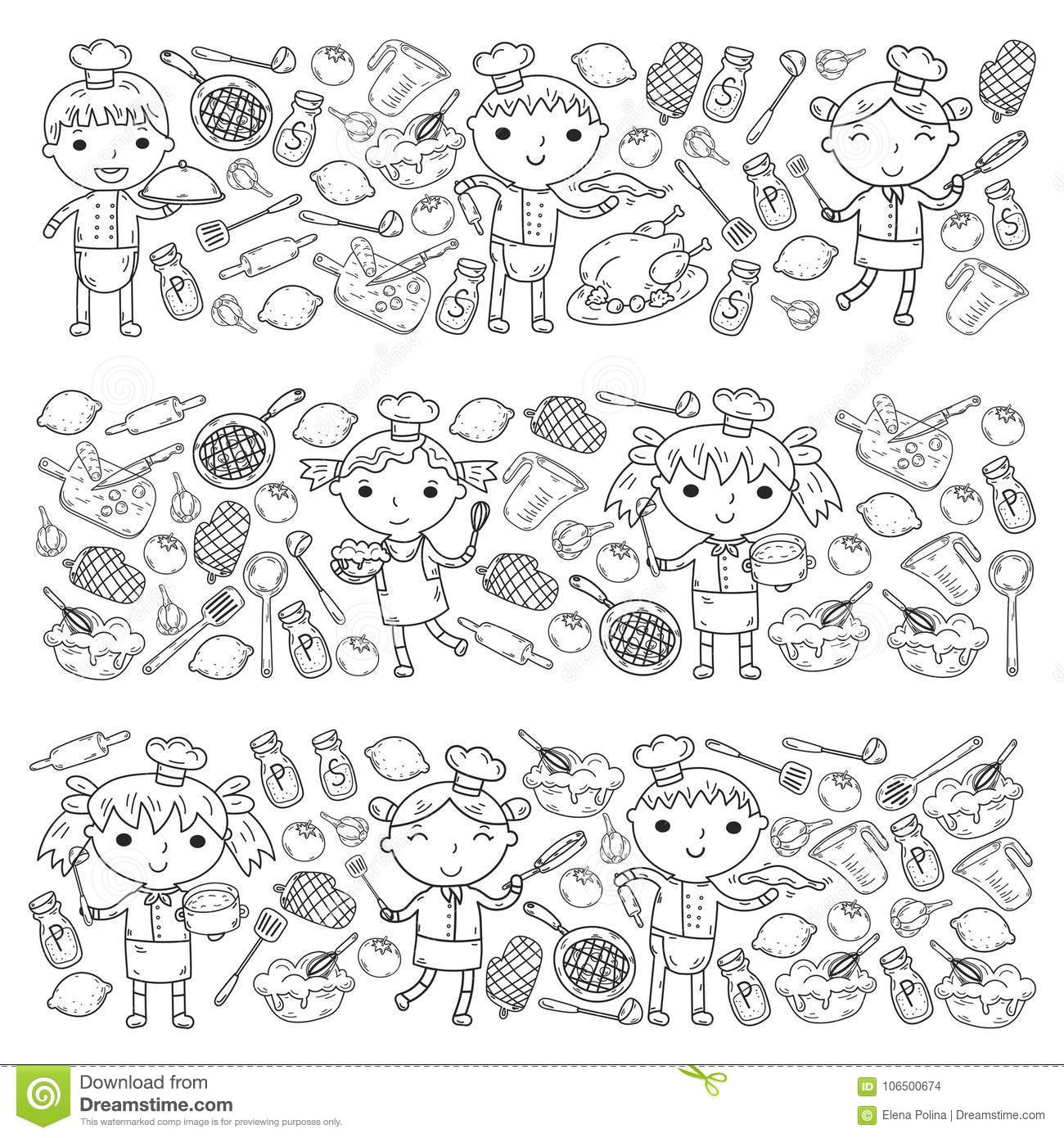 Cute Kids Chef On White Background Children Cooking