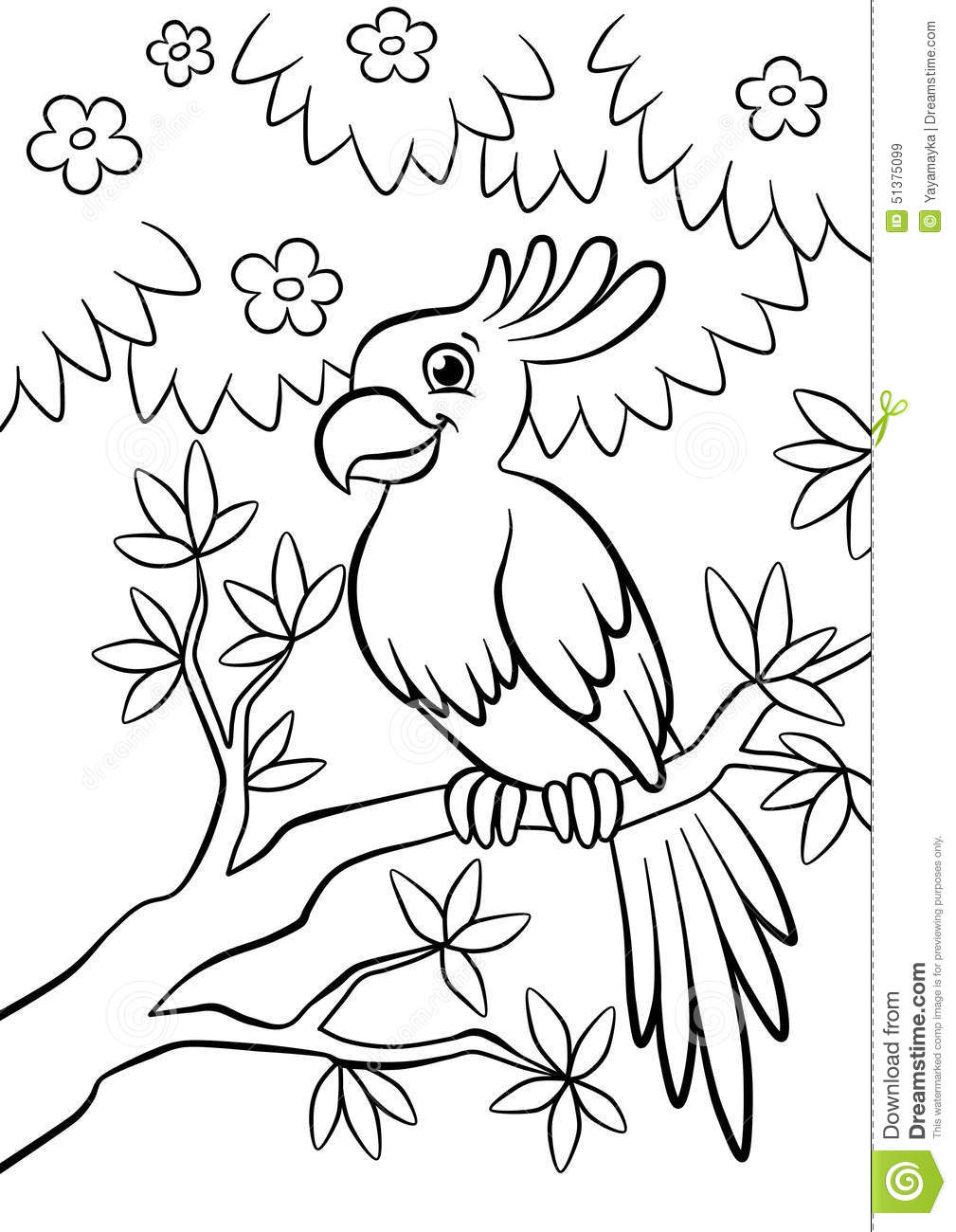 Cute Kind Parrot Sitting On The Flowered Tree In The