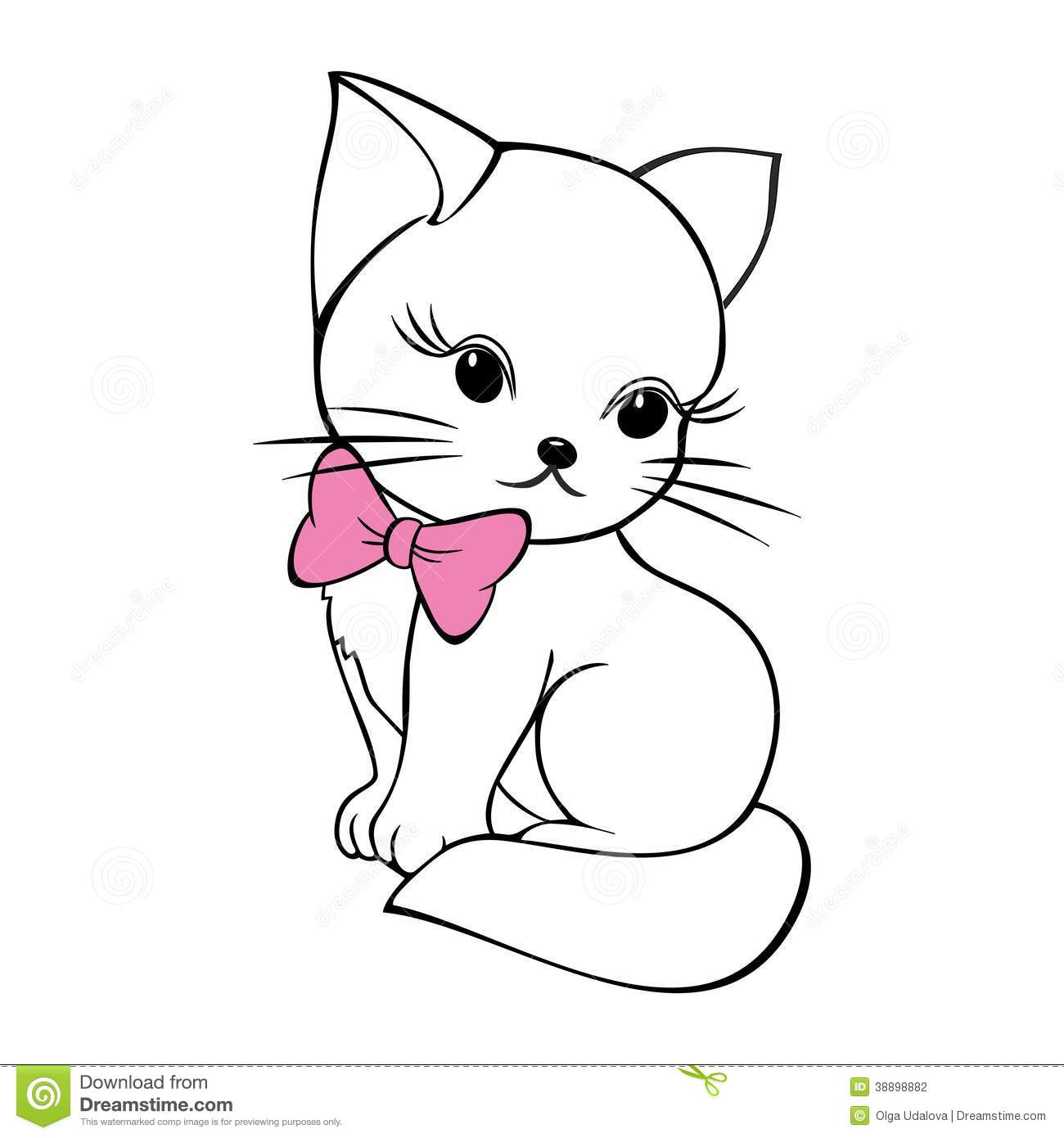 Cute Kitty With Bow Stock Vector