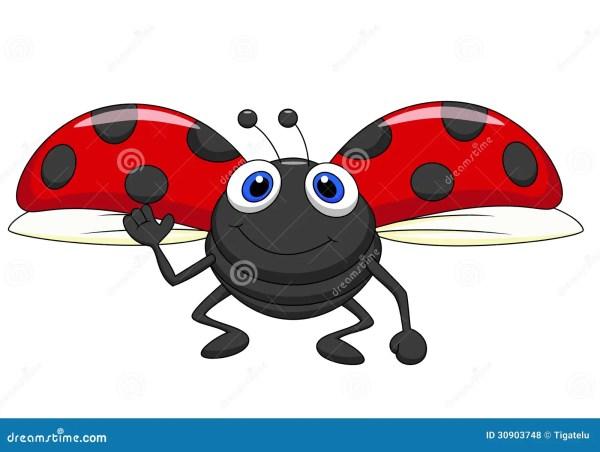 cute ladybug cartoon flying stock