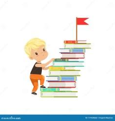 stairs climbing cartoon child books vector boy character little