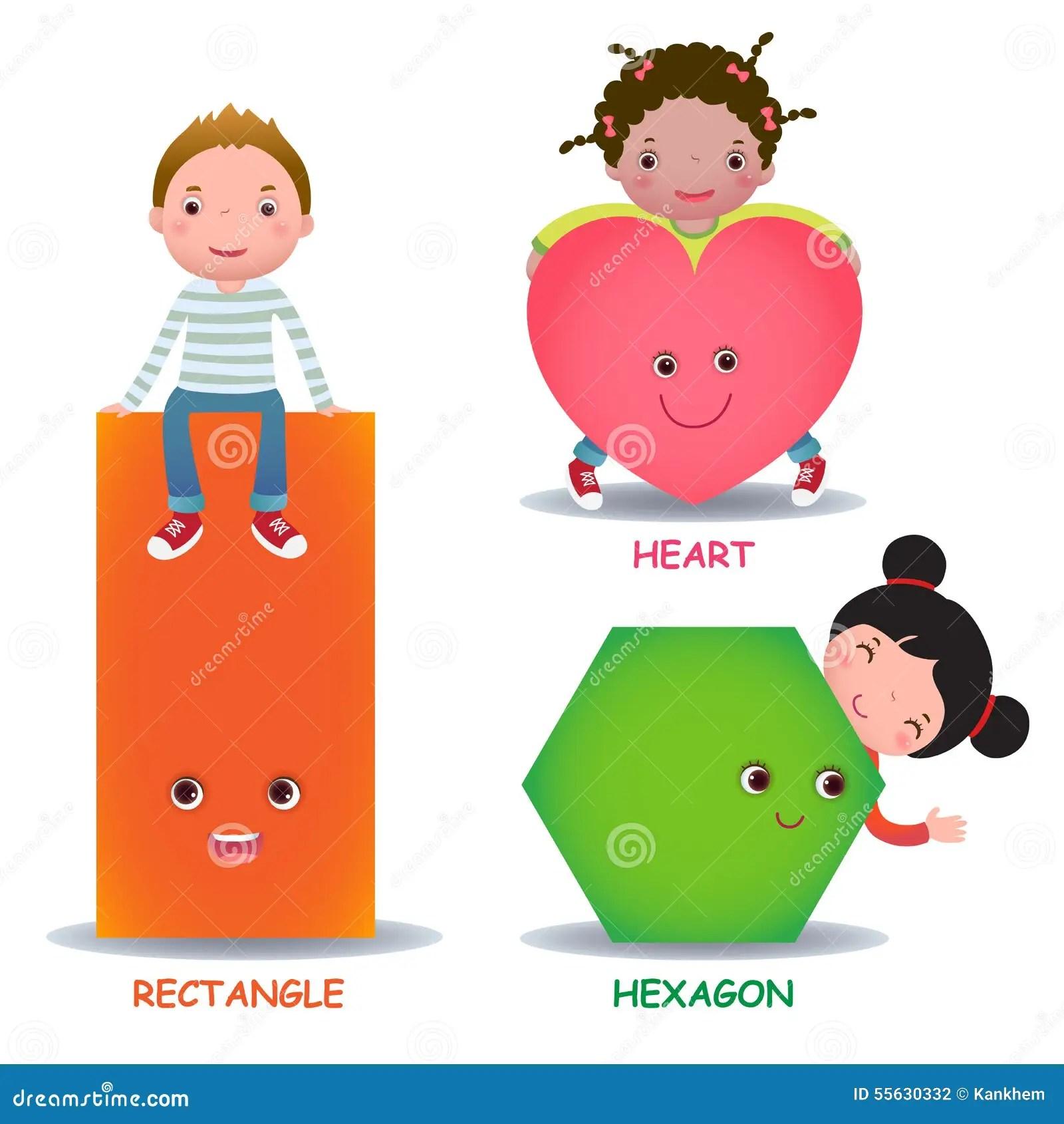 Cute Little Cartoon Kids With Basic Shapes Heart Hexagon