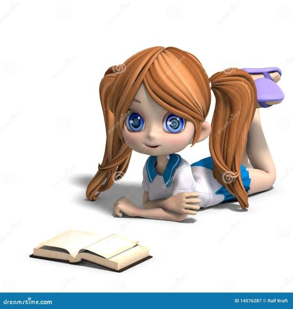 Cute Little Cartoon School Girl