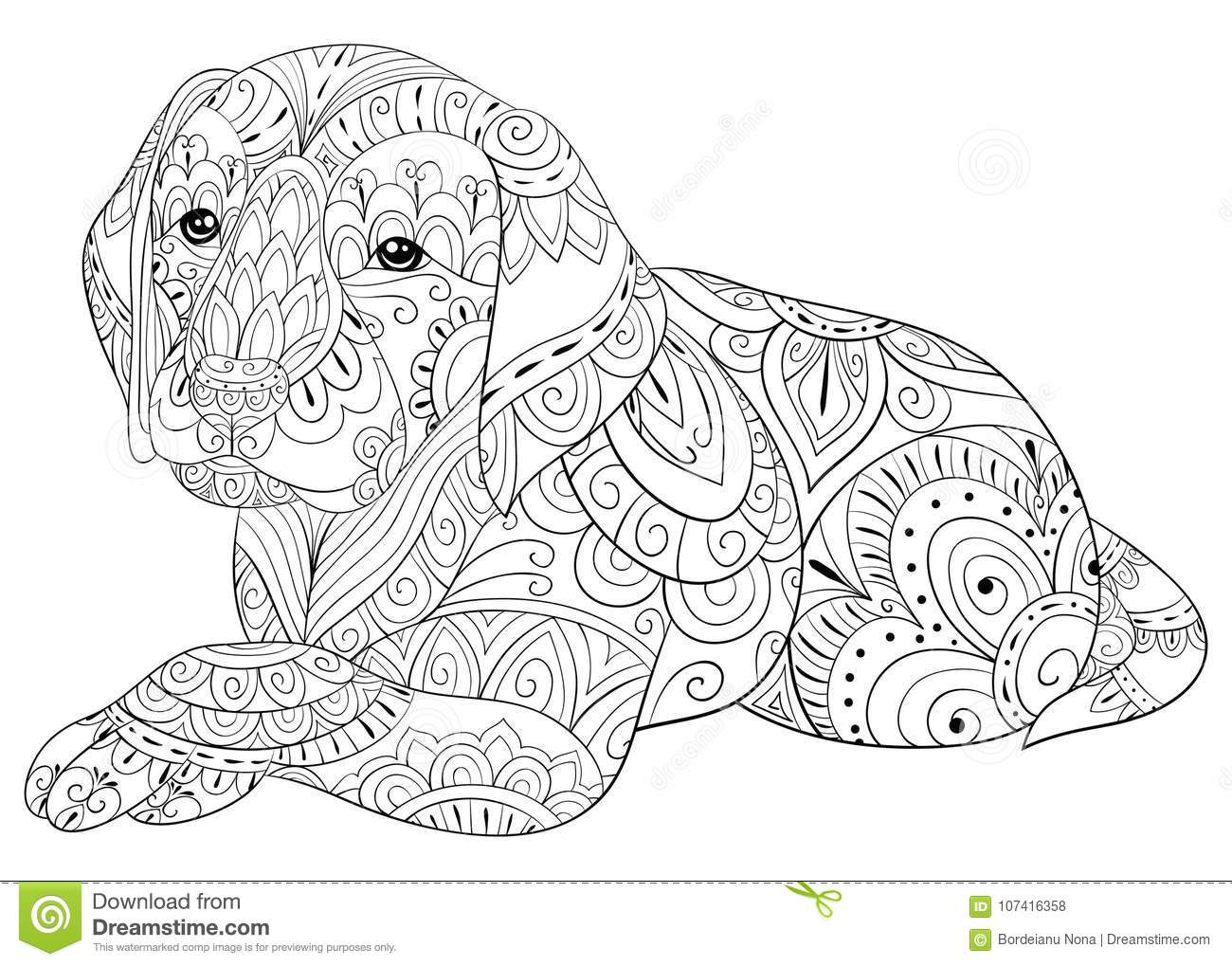 Adult Coloring Page A Cute Dog For Relaxing Zen Art Style Illustration Stock Vector Illustration Of Illustrationposterwallpaper Design 107416358