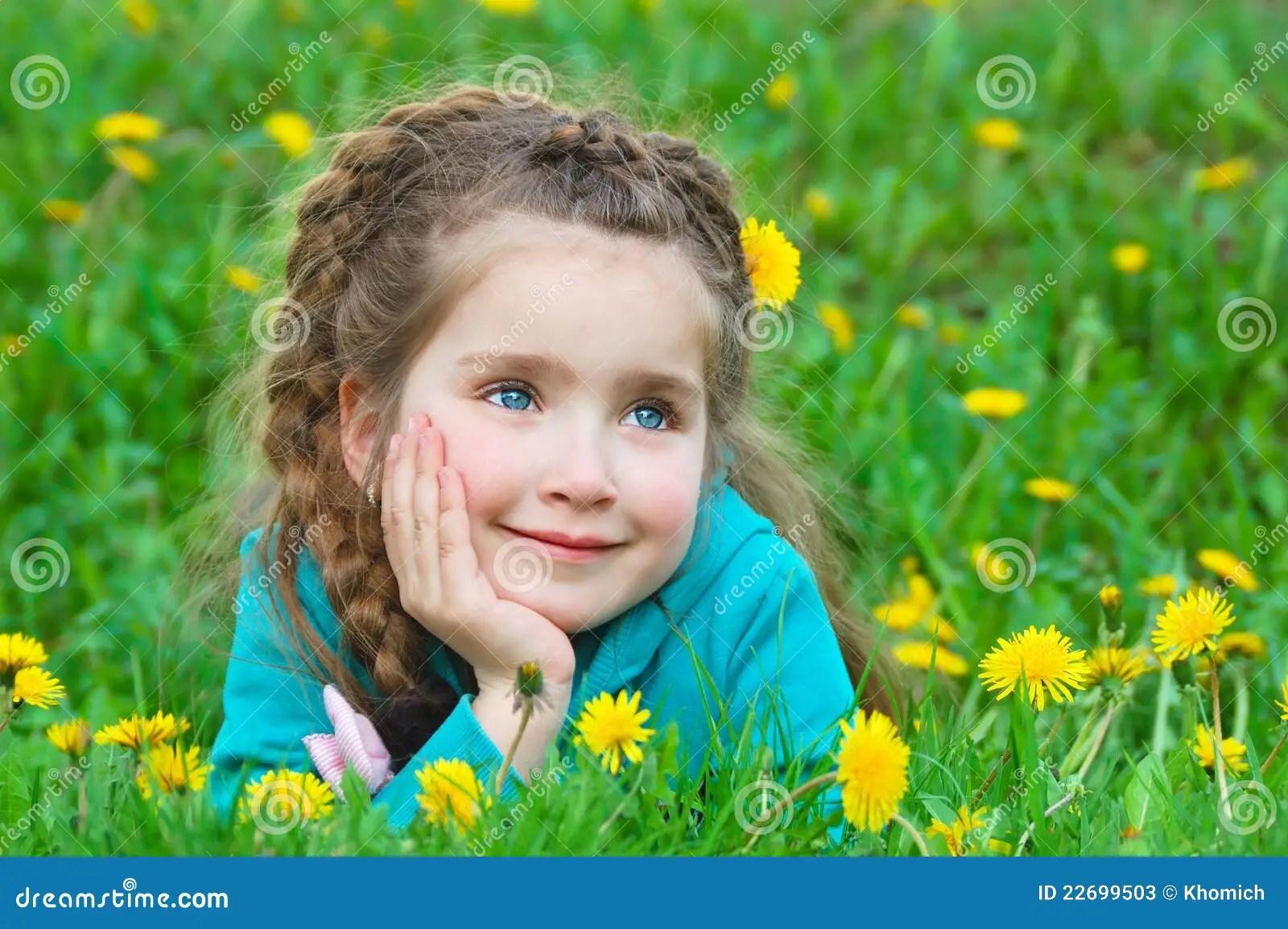 cute little girl dreaming