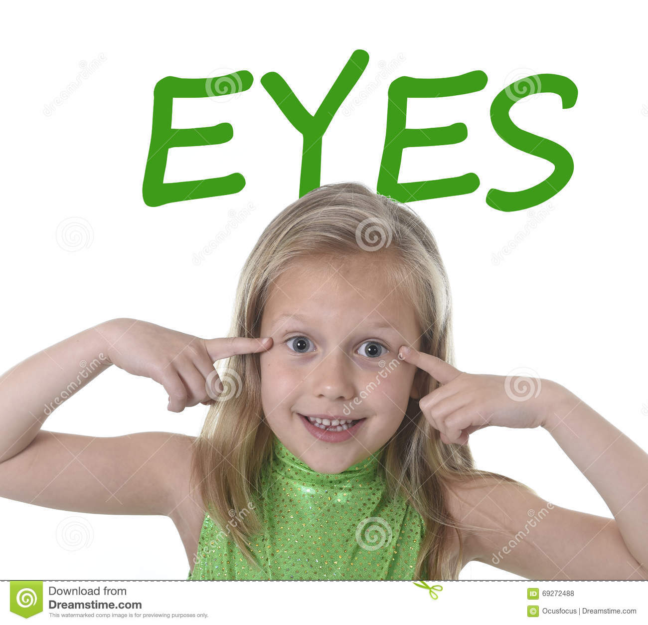 Cute Little Girl Pointing Her Eyes In Body Parts Learning
