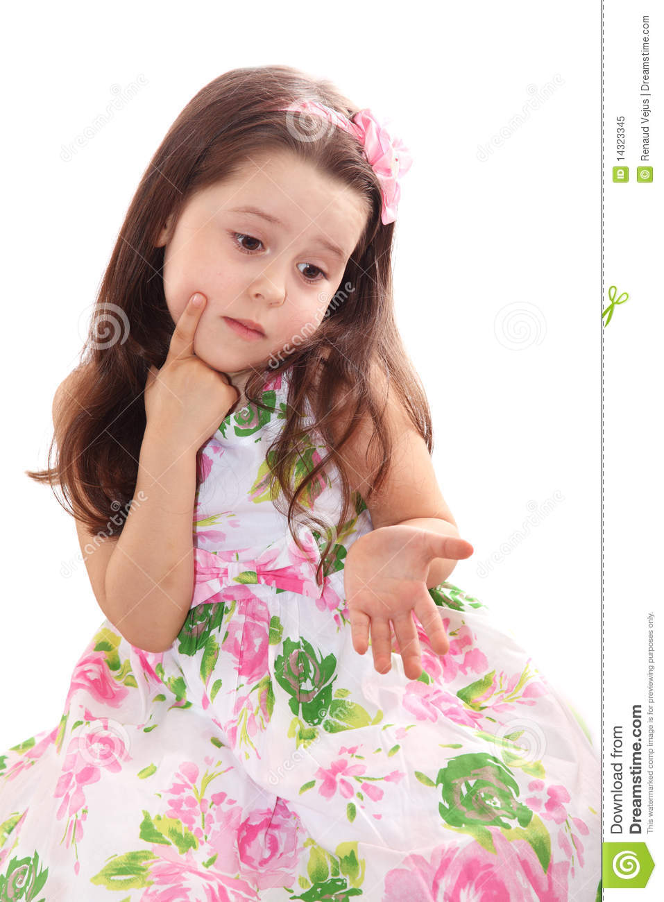 Cute Little Girl Puzzled Royalty Free Stock Photo Image