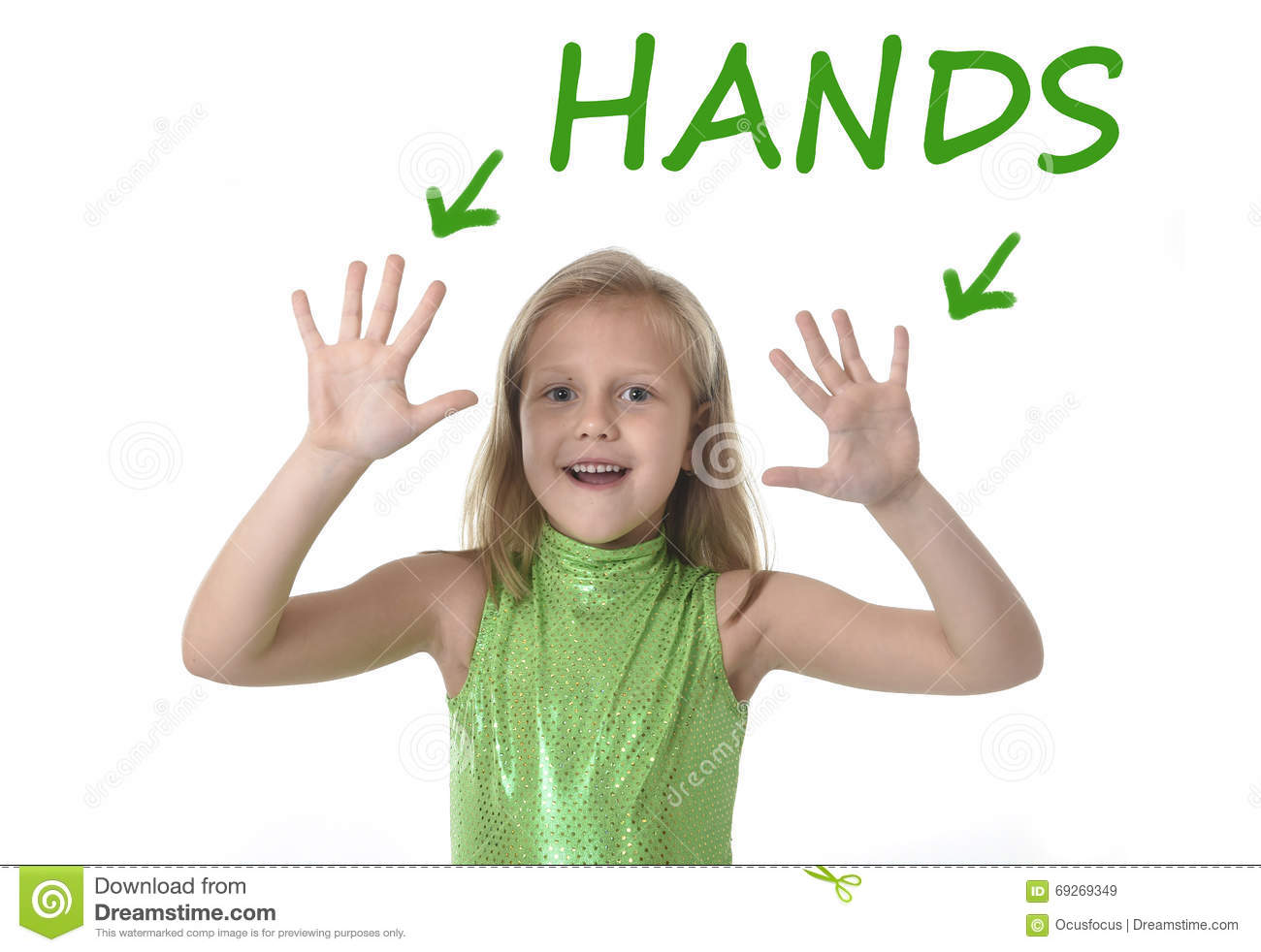Cute Little Girl Showing Hands In Body Parts Learning English Words At School Stock Image