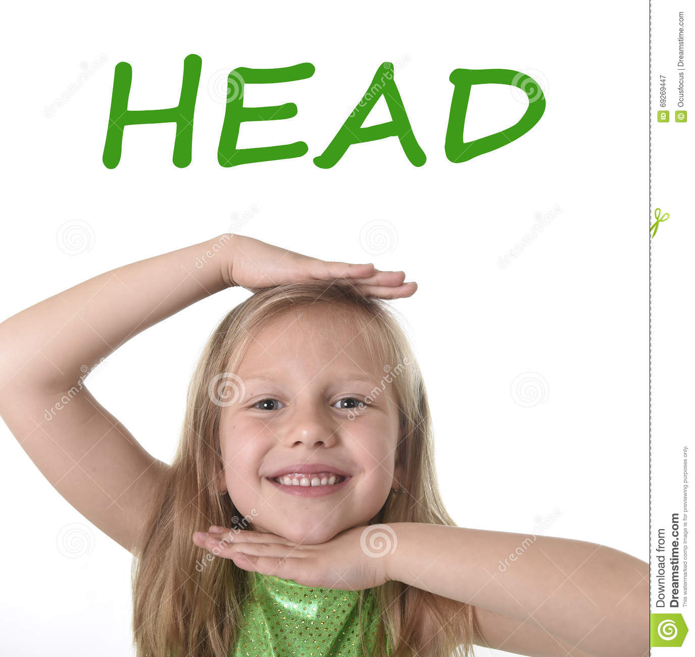 Cute Little Girl Showing Head In Body Parts Learning