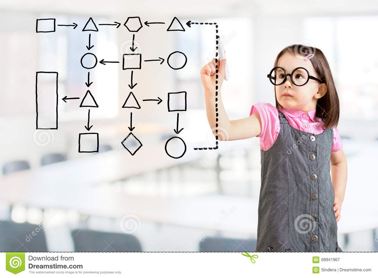 hight resolution of cute little girl wearing business dress and writing process flowchart diagram on screen office background
