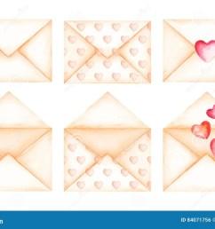 cute love message beige envelopes watercolor illustration [ 1300 x 935 Pixel ]