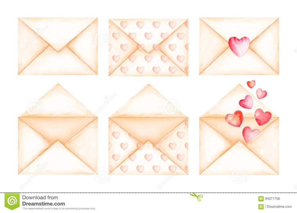 medium resolution of cute love message beige envelopes watercolor illustration