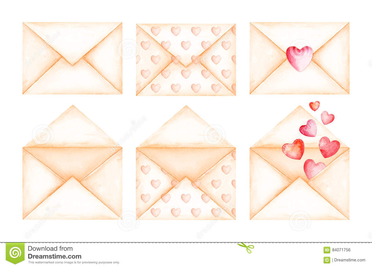 hight resolution of cute love message beige envelopes watercolor illustration