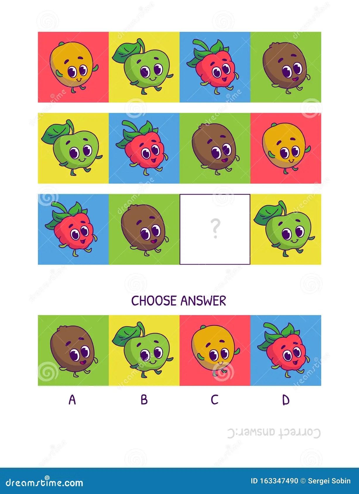 Cute Mango Green Apple Raspberry Kiwi Logic Game For