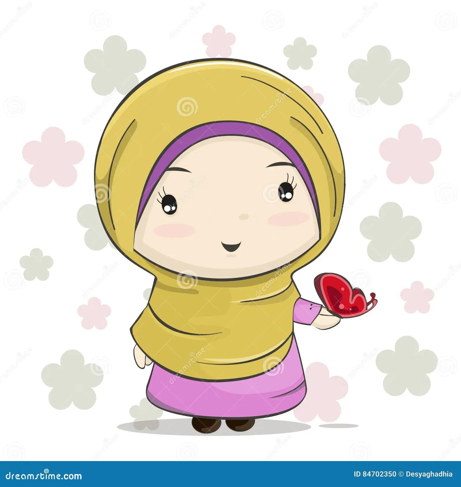 Cute Baby Hijab Wallpaper A Cute Muslim Girl Cartoon Illustration Vector