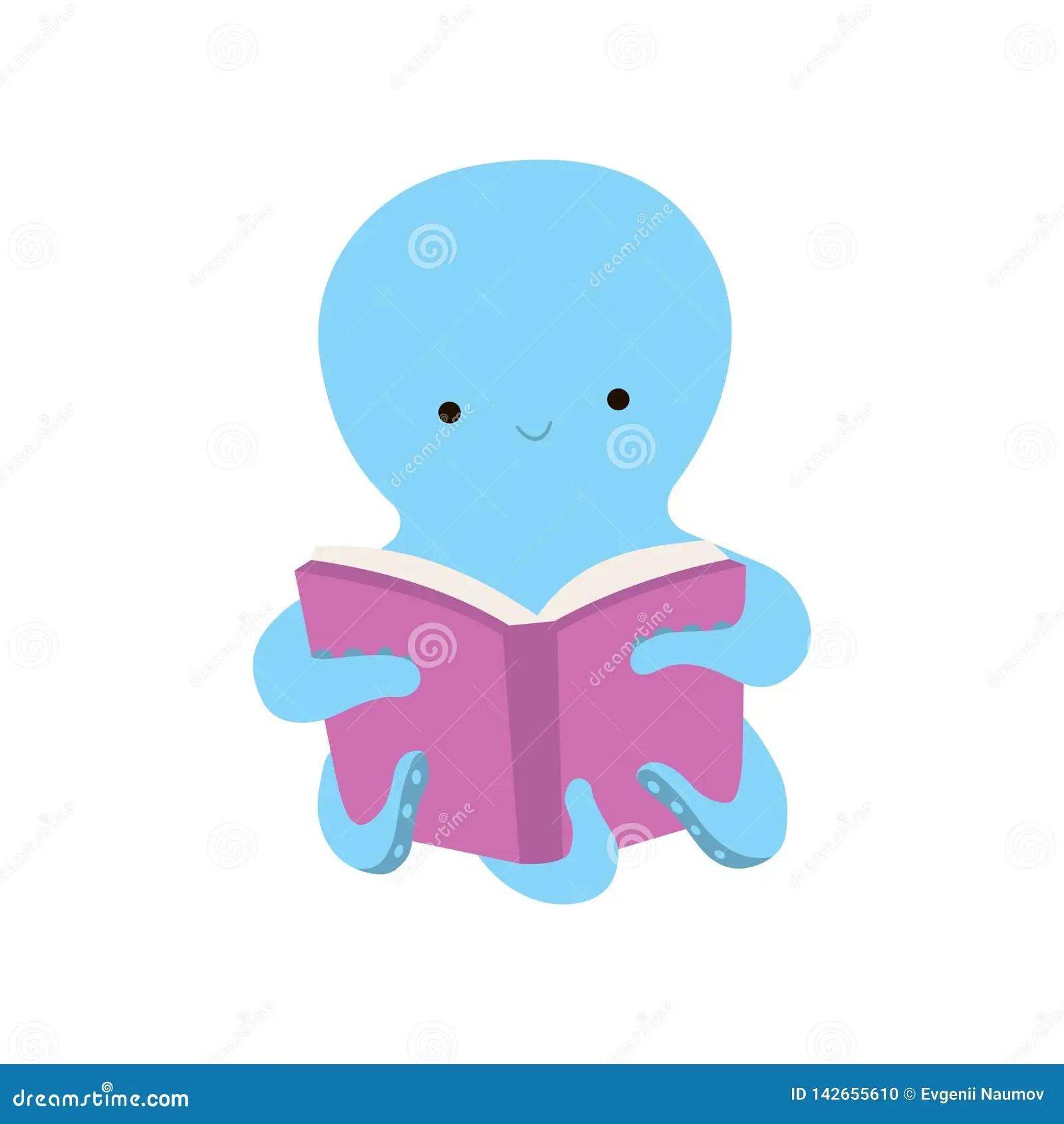 Cute Octopus Reading Book Adorable Smart Sea Creature