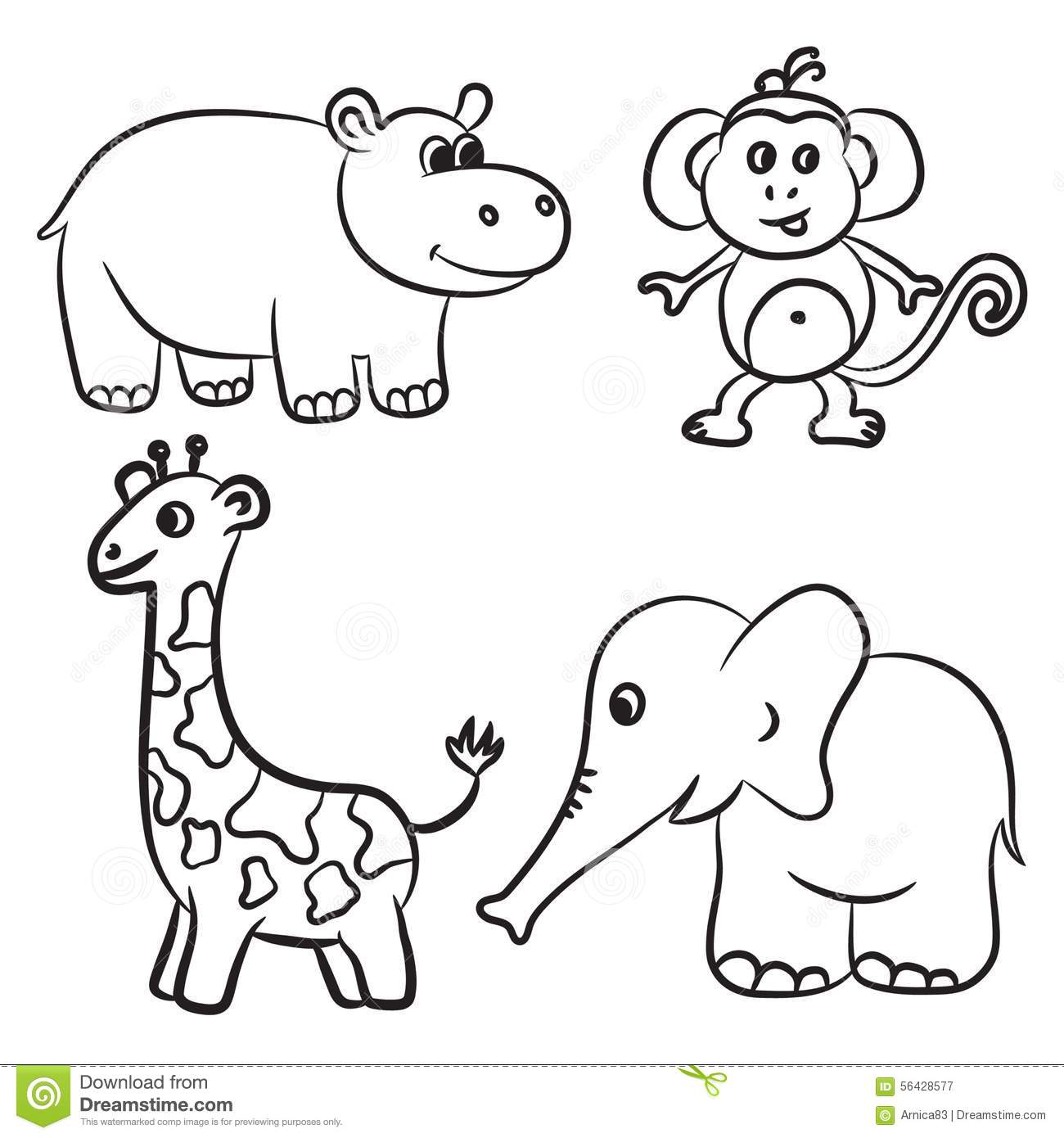 Cute Outlined Zoo Animals Collection Stock Vector