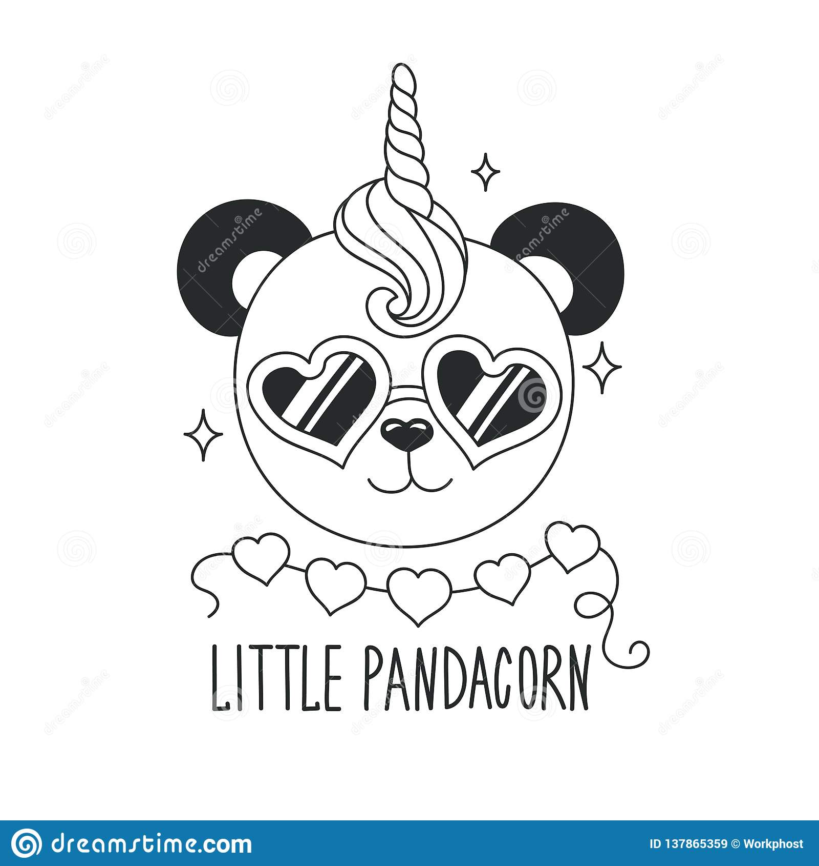 Cute Panda Unicorn Coloring Pages