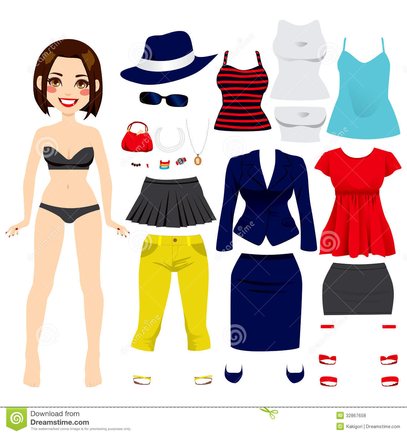 Cute Paper Doll Girl Royalty Free Stock Photos