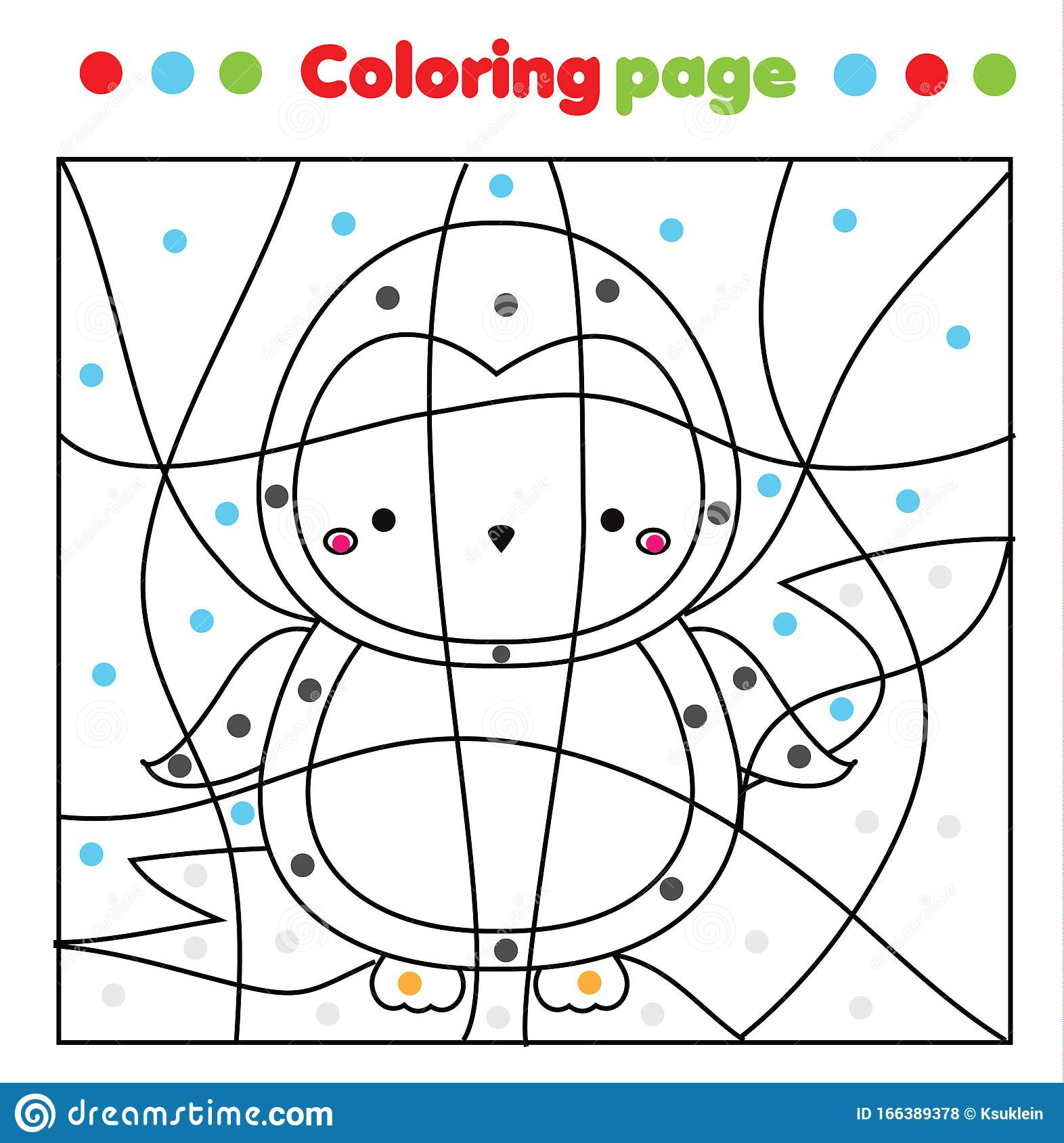 Cute Penguin Coloring Page Color By Dots Printable