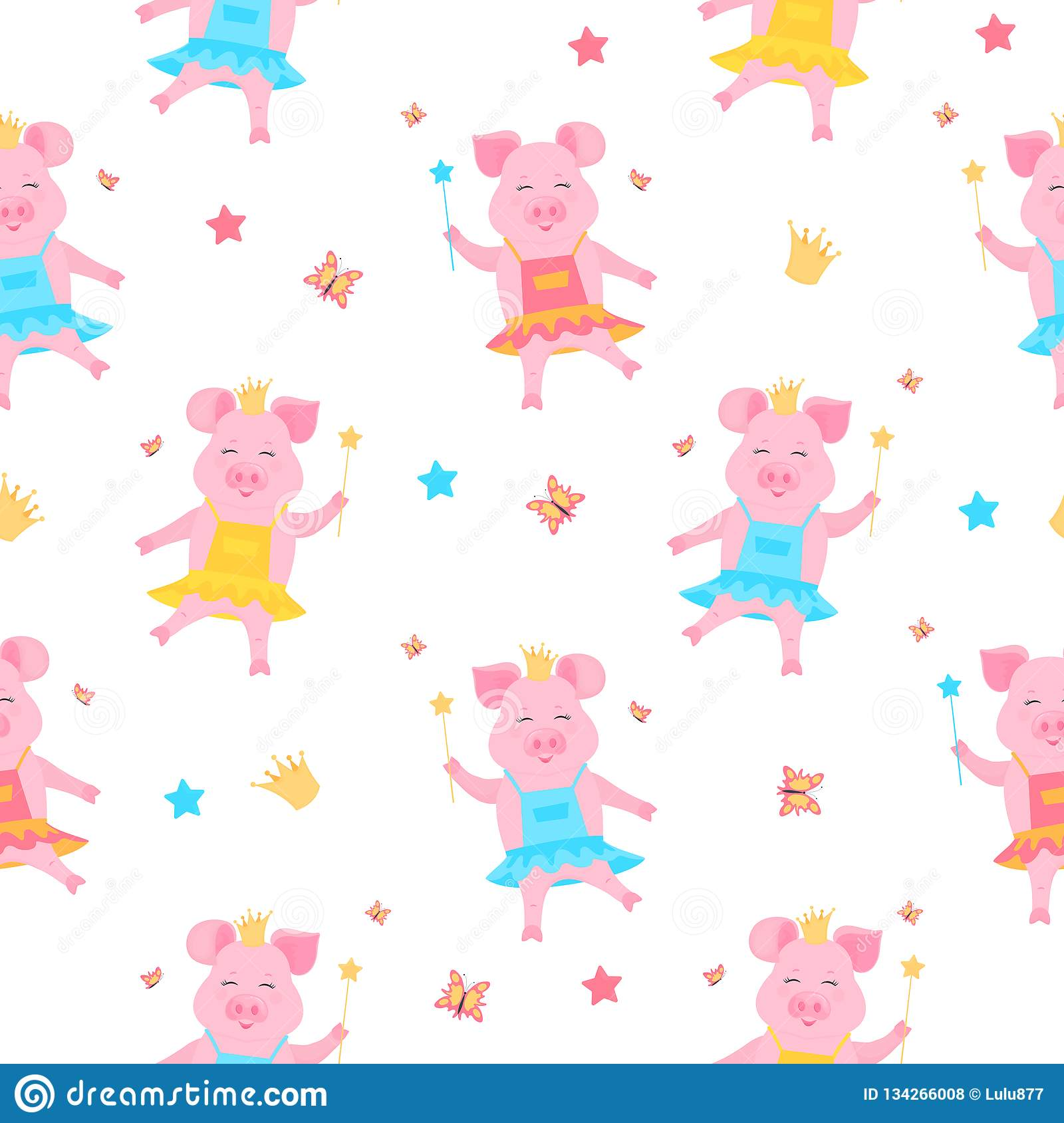 hight resolution of a cute pig princess in a dress and in the crown with a magic wand in