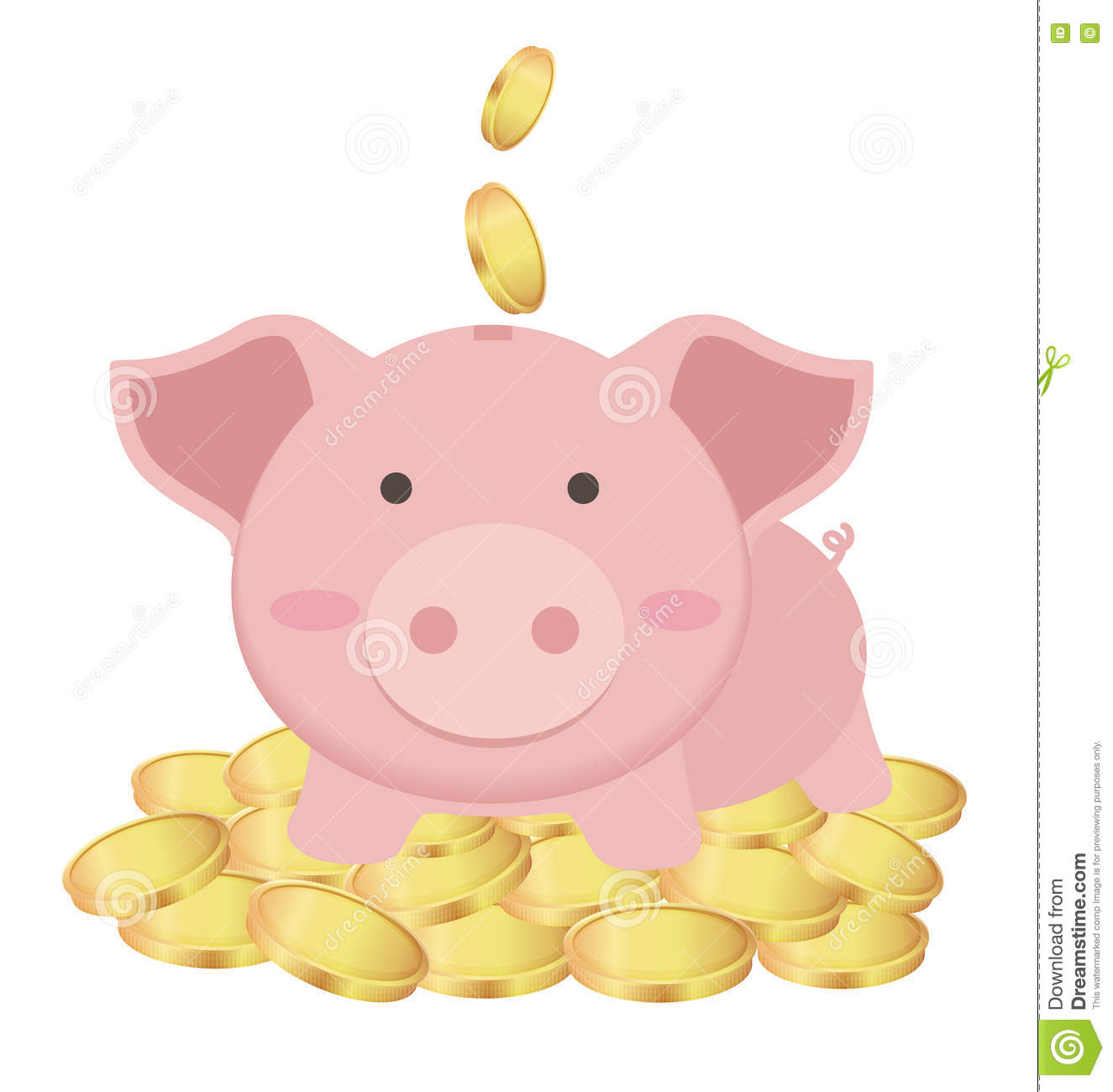 Cute Piggy Bank Standing On Many Gold Coins Saving
