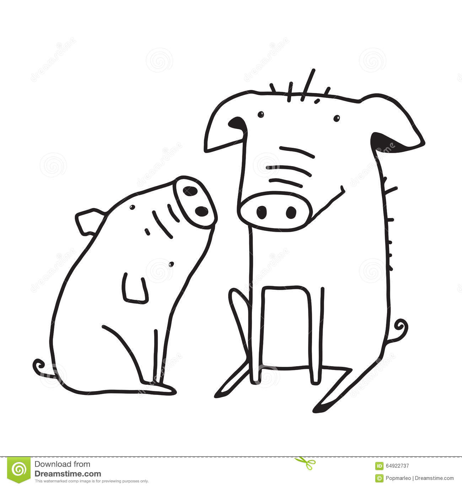 Cute Pigs Outline Funny Illustration For Kids Mom Stock