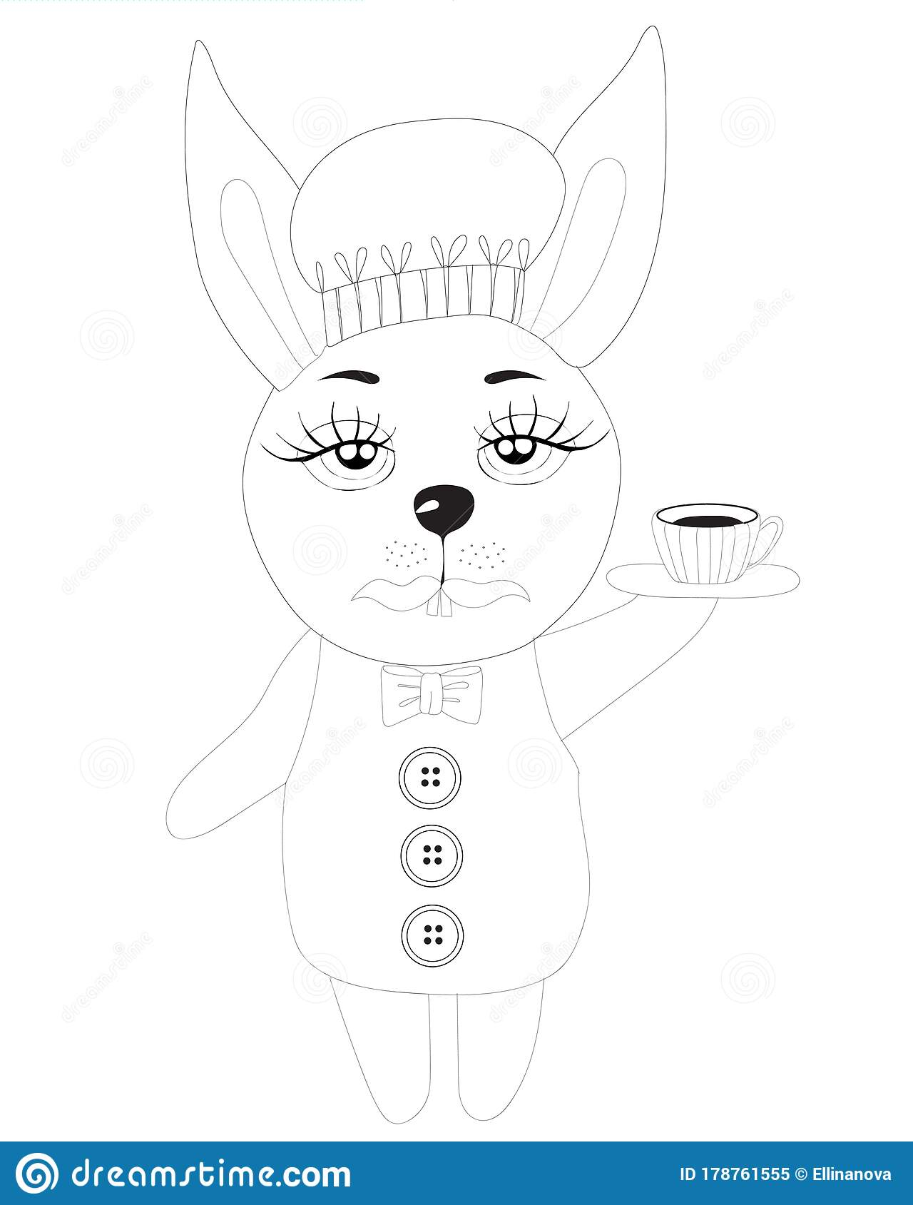 Cute Rabbit Coloring Page Isolated Stock Vector Illustration Of Carrot Coloring 178761555